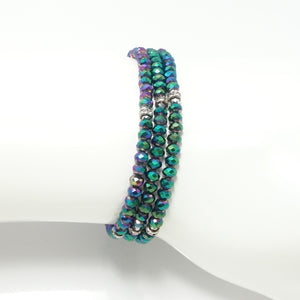 Green Metallic Silver Crystal Triple Wrap Bracelet