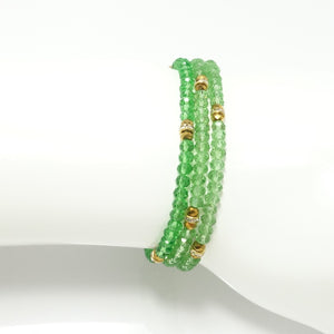 Shiny Green Gold Crystal Triple Wrap Bracelet
