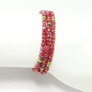 Frosted Red Gold Crsytal Triple Wrap Bracelet