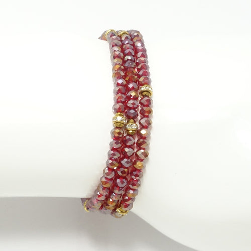 Shiny Red Gold Crystal Triple Wrap Bracelet