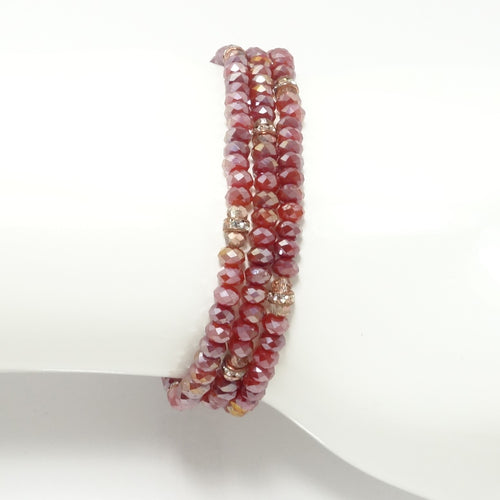 Frosted Red Rose-Gold Crsytal Triple Wrap Bracelet