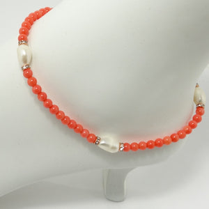Coral Agate Pearl Ankle Bracelet
