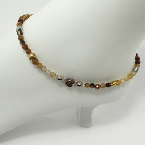 Multi Brown Agate Heart Ankle Bracelet