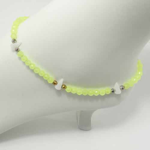 Neon Yellow White Spike Ankle Bracelet