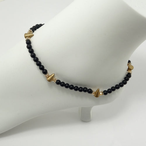 Black Matte Spike Ankle Bracelet