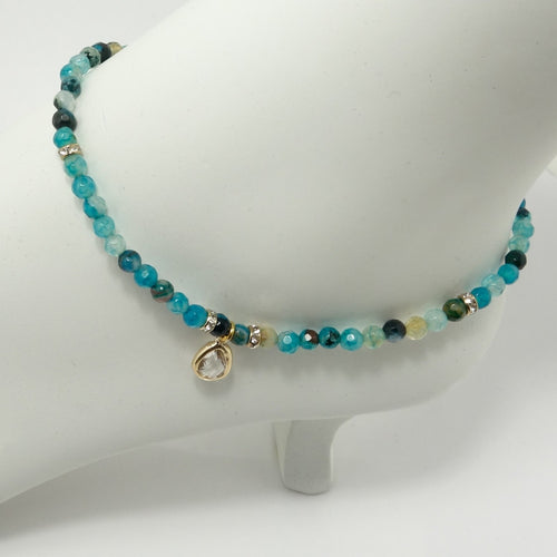 Multi Turquoise Tear Drop Ankle Bracelet