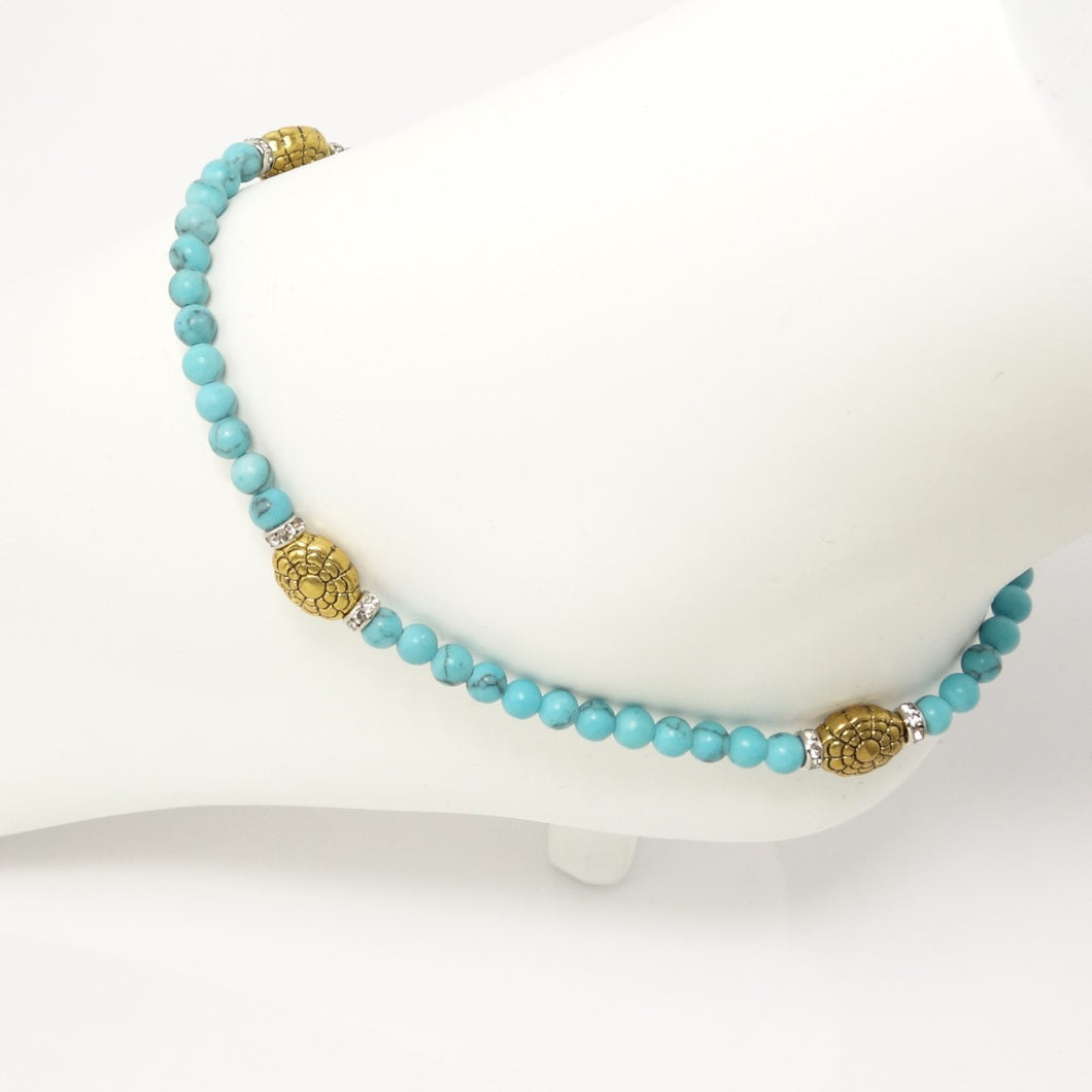 Turqouise Gold Flower Ankle Bracelet