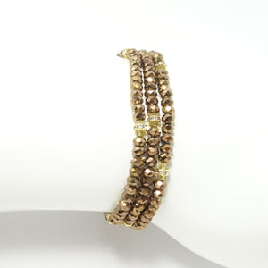 Metallic Brown/Gold Crystal Triple Wrap Bracelet