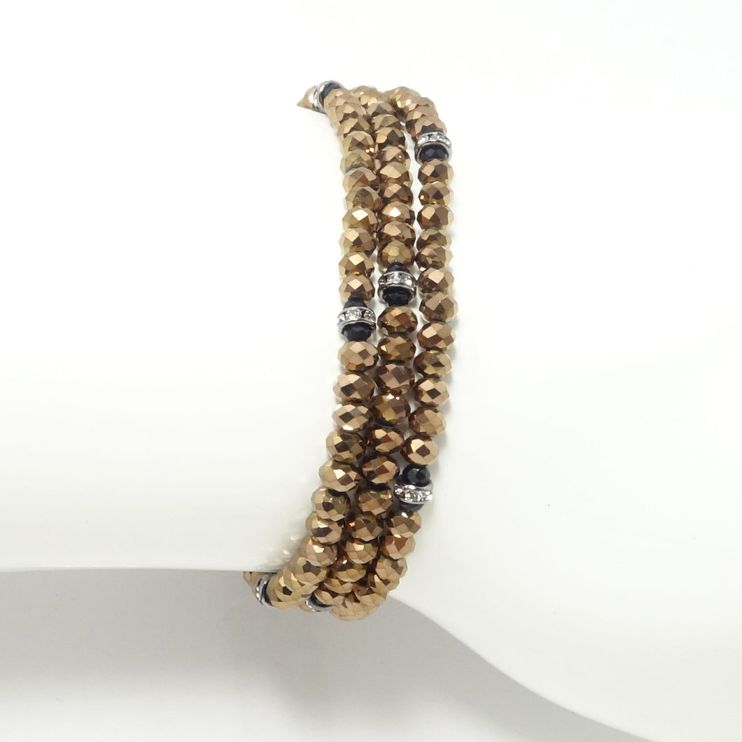 Metallic Brown/Black Crystal Triple Wrap Bracelet