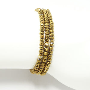 Metallic Gold/Gold Crystal Triple Wrap Bracelet
