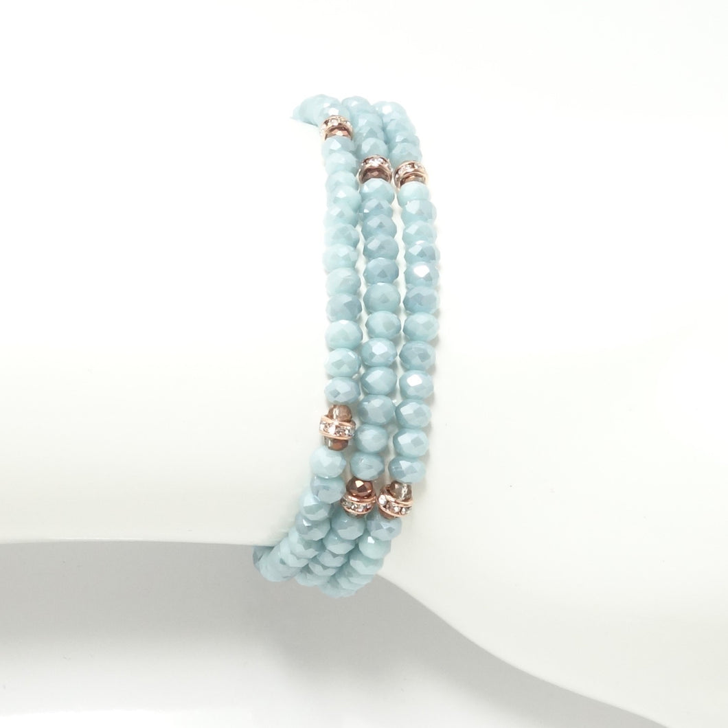 Baby Blue/Rose-Gold Crystal Triple Wrap Bracelet