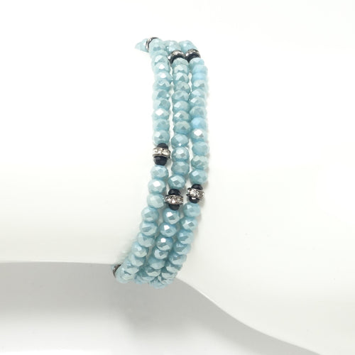 Baby Blue/Black Crystal Triple Wrap Bracelet
