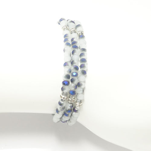 White-Blue/Silver Crystal Triple Wrap Bracelet
