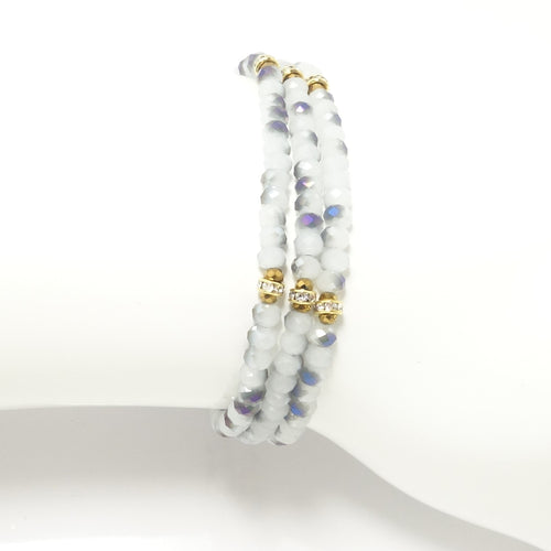 White-Blue/Gold Crystal Triple Wrap Bracelet