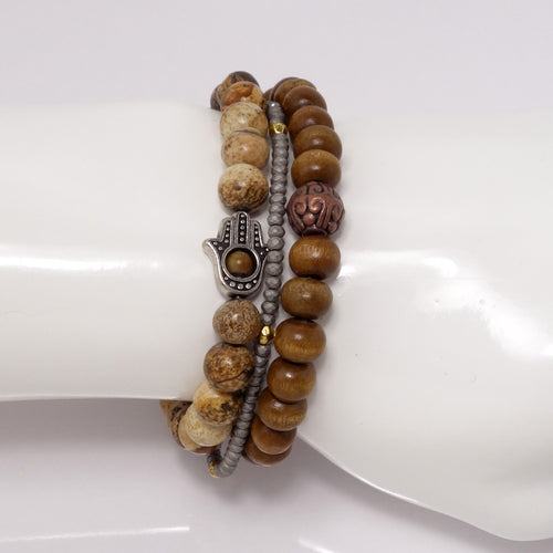 Brown Hamsa Men's Bracelet Set