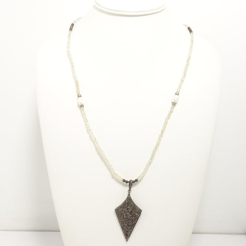 Cream Oversized Tear Drop Black Diamond Necklace
