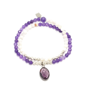Purple Oval Tear Drop Double Wrap Bracelet
