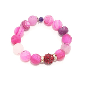 Bubble Gum Pink Druzy/Red Bracelet