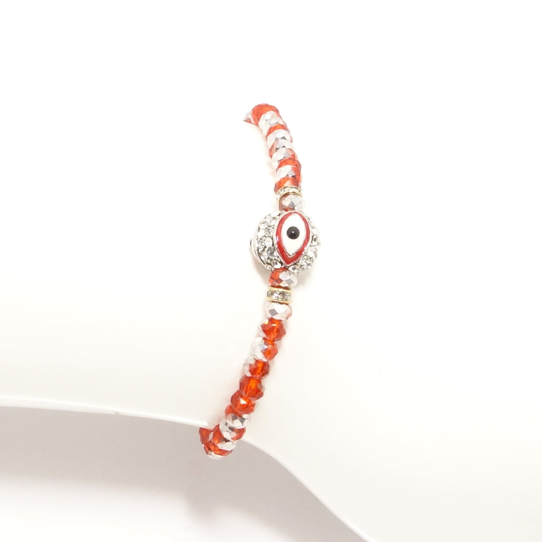 Shinny Orange/Red Evil Eye Bracelet