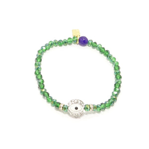 Green/White Rhinestone Evil Eye Bracelet