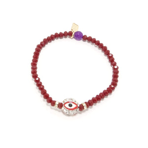 Maroon/Red Evil Eye Bracelet