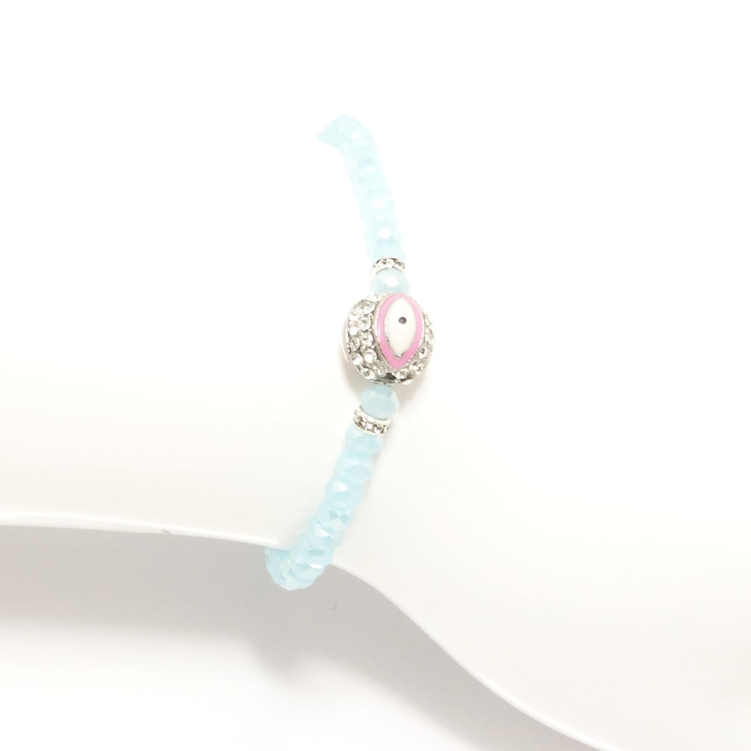 Light Blue/Pink Evil Eye Bracelet
