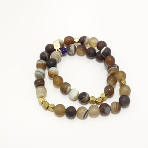 Multi-Brown Druzy Double Wrap
