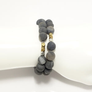 Black Druzy Double Wrap Bracelet