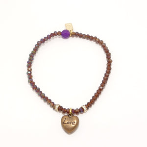 Copper Love Heart Charm Bracelet