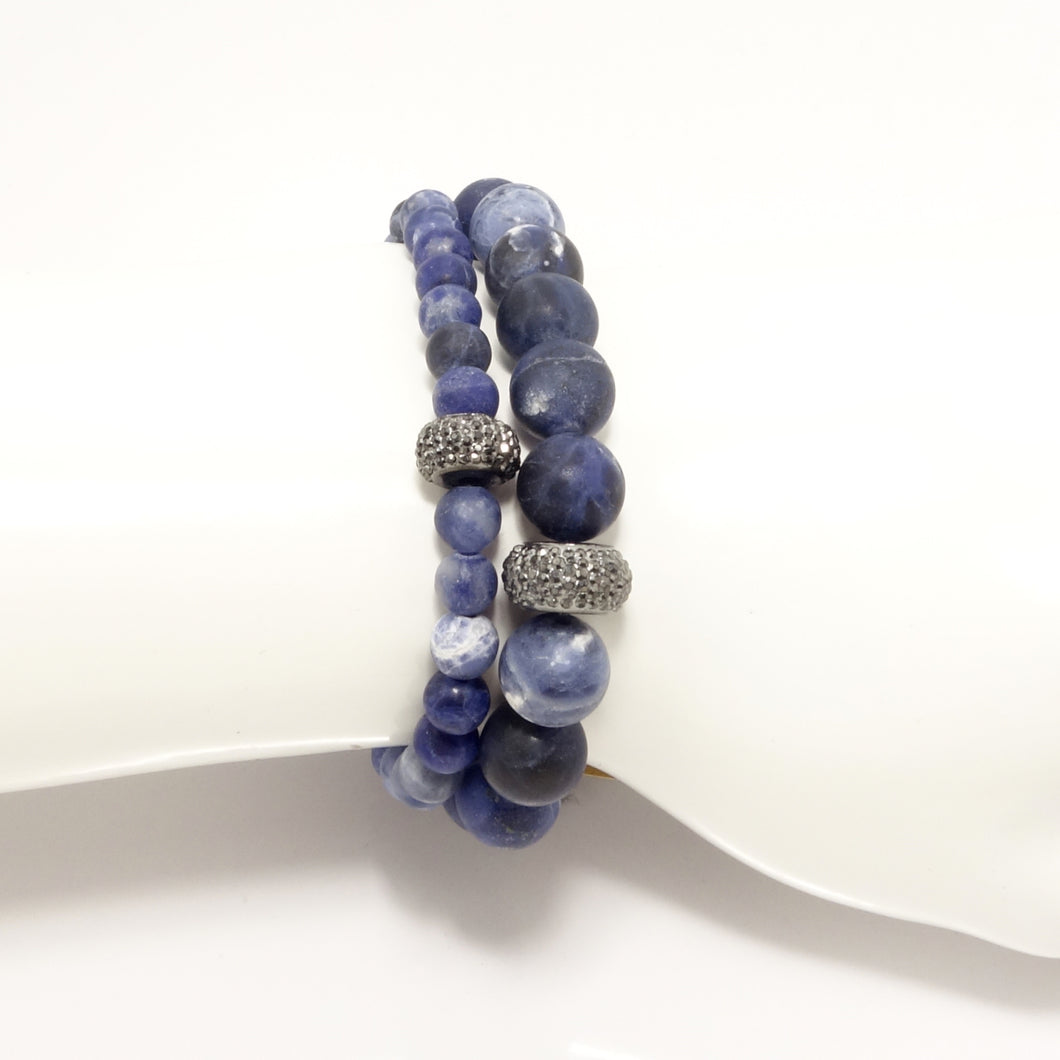 Blue Army Beaded Bracelet Set