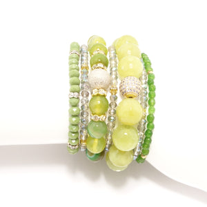 Fifty Shades of Green Beaded Bracelet Bundle