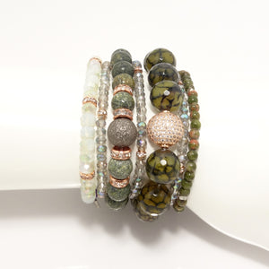 Green/Rose-Gold Love Beaded Bracelet Bundle