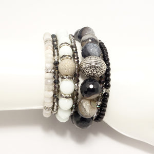 Black & White Beaded Bracelet Bundle