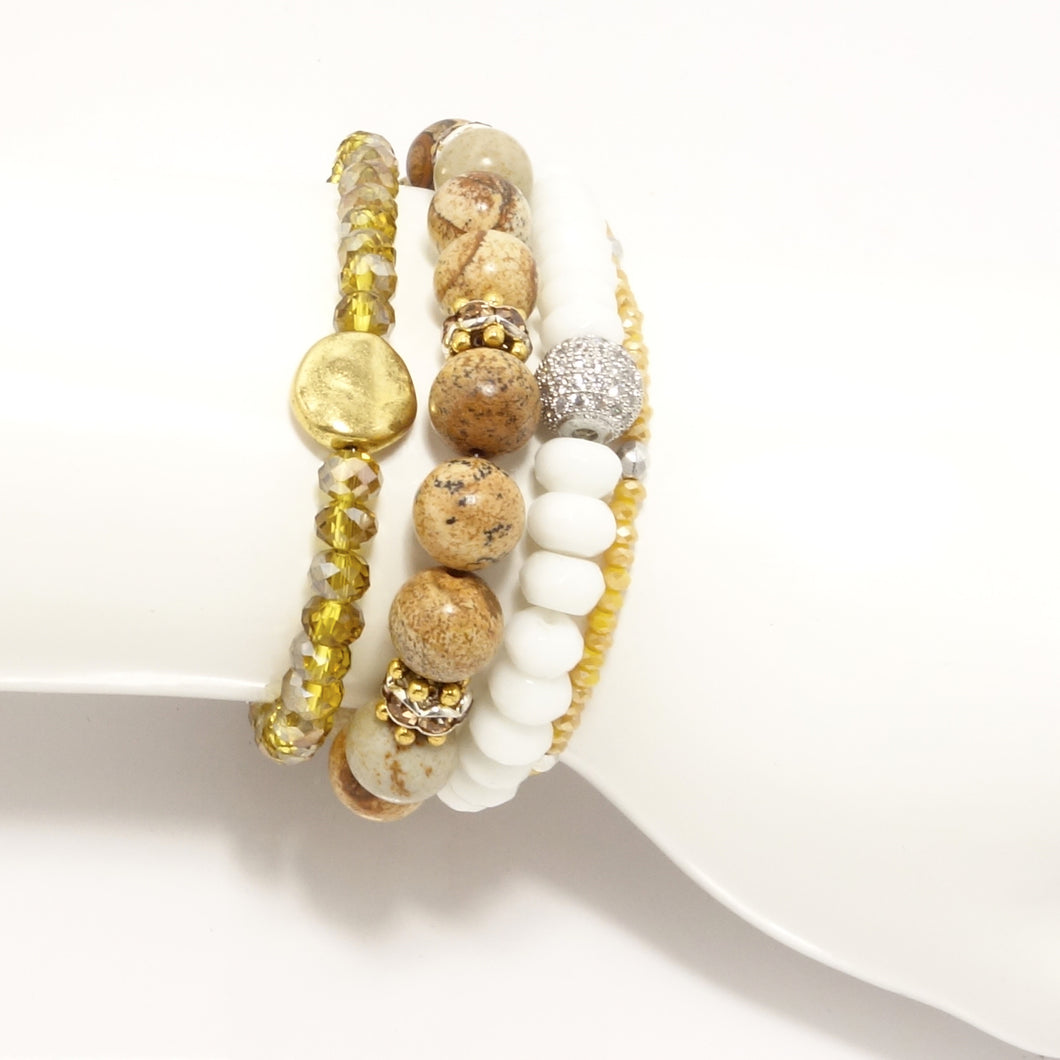 White/Gold Beaded Bracelet Bundle