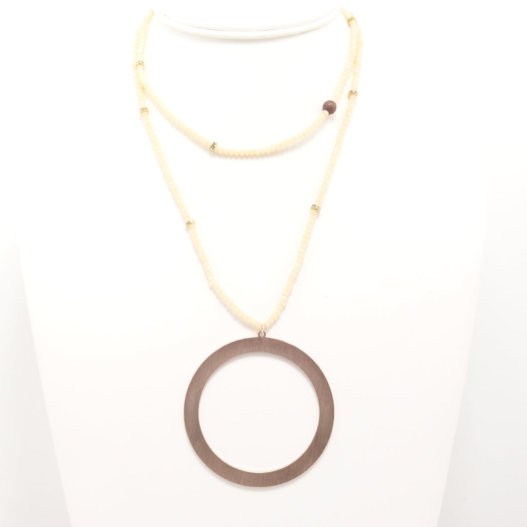 Cream Rose Gold Circle Double Choker