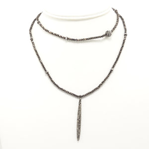 Hematite Rhinestone Tear Drop Double Choker