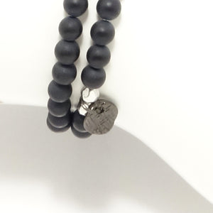 Black Matte Circle Charm Double Wrap Bracelet