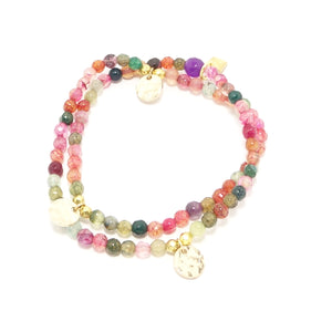 Pink Rainbow Circle Charm Double Wrap