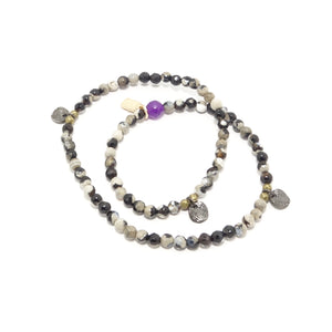 Black Multi-Tan Circle Charm Double Wrap Bracelet