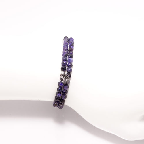 Black/Purple Circle Charm Double Wrap Bracelet