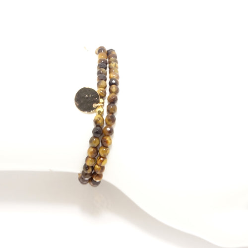 Tiger Eye Circle Charm Double Wrap Bracelet