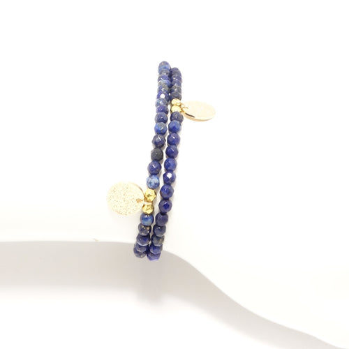 Blue Lapis Circle Charm Double Wrap Bracelet