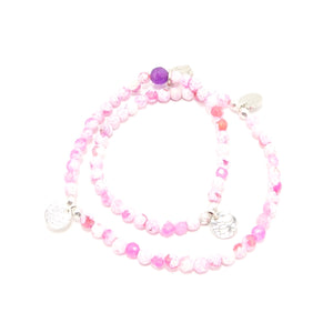 Pink/White Circle Charm Double Wrap Bracelet