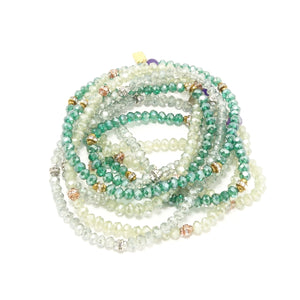 Fifty Shades of Green Crystal Wrap Bracelets