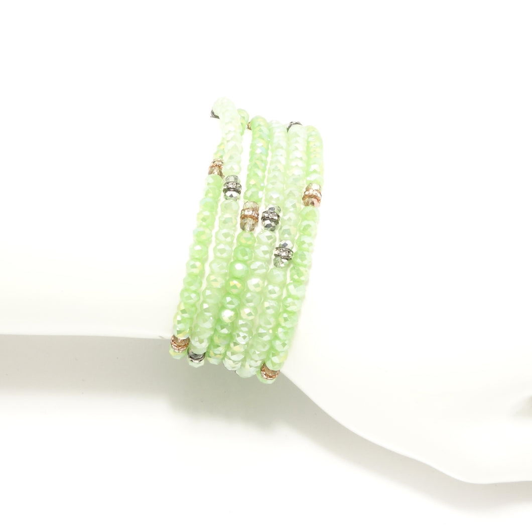 Frosted Green Crystal Wrap Bracelet