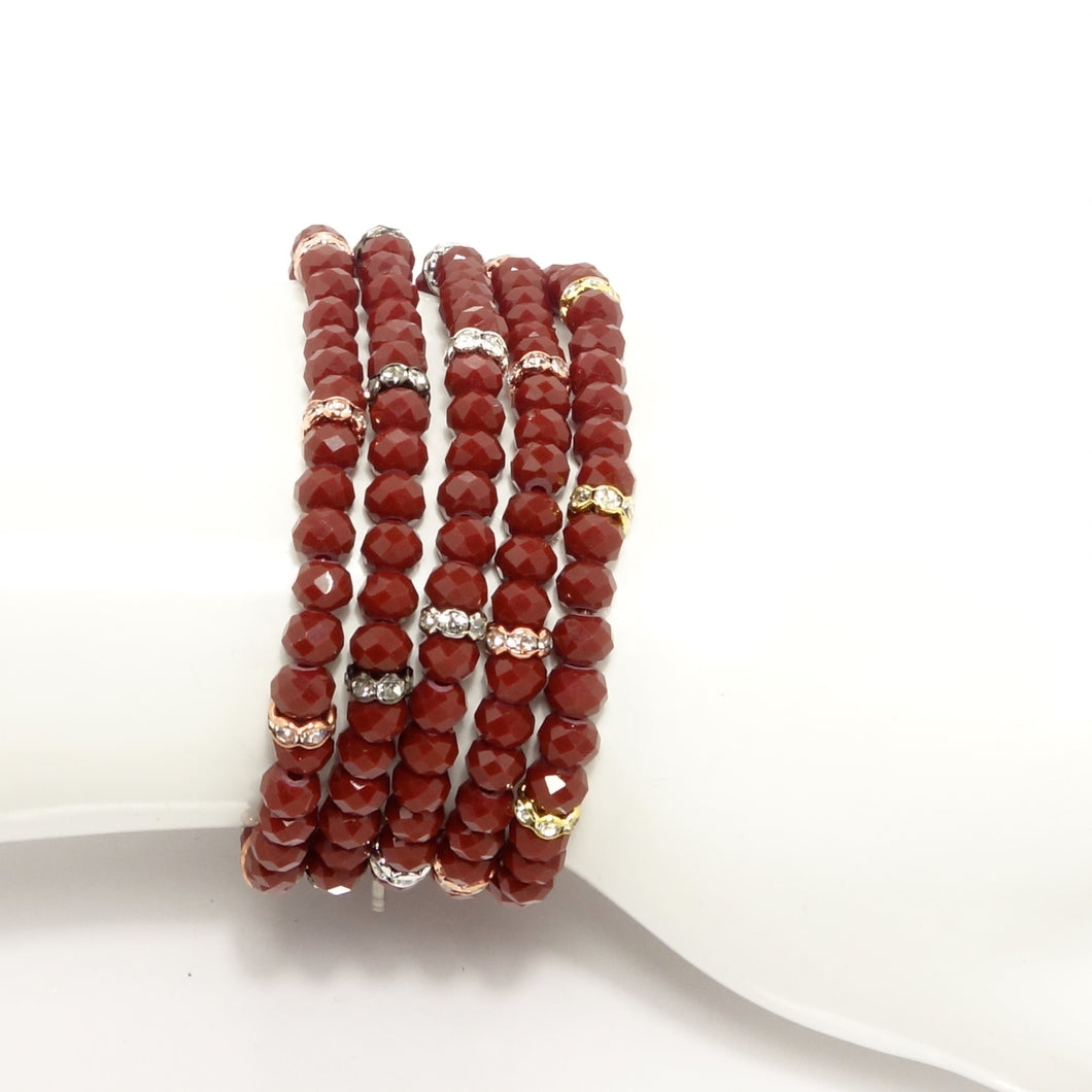 Light Maroon Crystal Bracelet Set