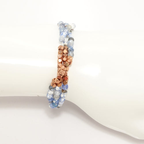 Light Blue/White Rose-Gold Multi-Cluster Set