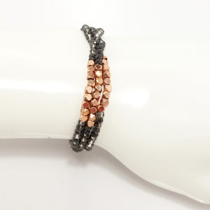 Hematite/Clear Rose-Gold Multi-Cluster Mini