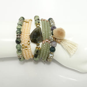 Green Tassel Beaded Bracelet Set