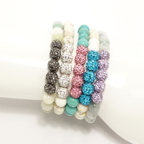 Rainbow Rhinestone Beaded Bracelet Set